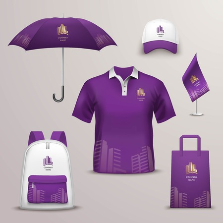 Ilustración de Promotional souvenirs design icons for corporate identity with violet and white color shapes isolated vector illustration - Imagen libre de derechos