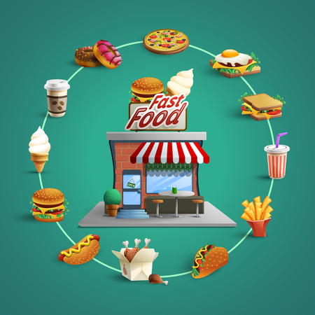 Illustration pour Fast food restaurant concept with circle flat pictograms of  french-fry hamburger and hotdog background poster abstract vector illustration - image libre de droit