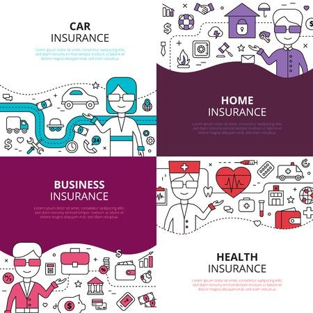 Illustration pour Home health and auto insurance business policies concept 4 linear icons square composition design abstract vector illustration - image libre de droit