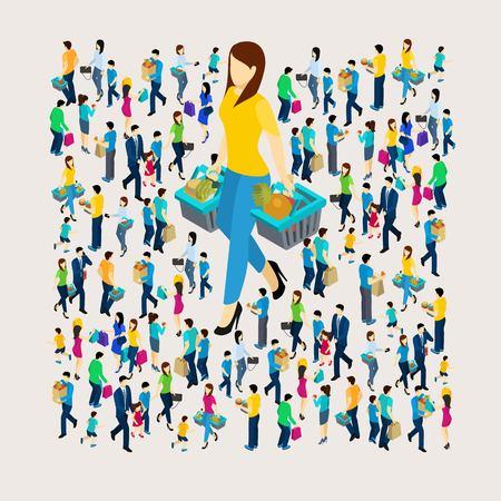 Ilustración de Shopping concept with men and women holding bags isometric vector illustration - Imagen libre de derechos