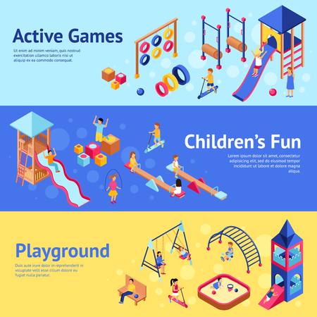 Illustration for Playground horizontal banner set with isometric children playing active games isometric vector illustration - Royalty Free Image