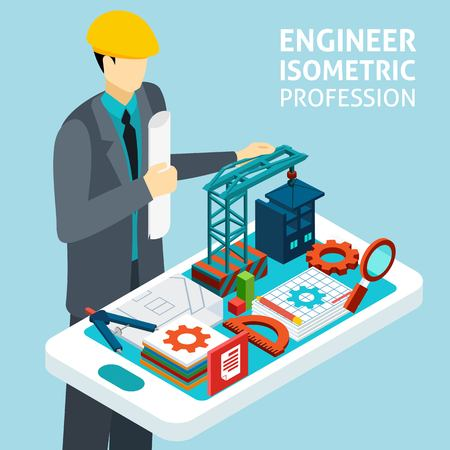 Illustration pour Construction engineer in helmet with architectural buildings model and technical drawing plan isometric banner abstract vector illustration - image libre de droit