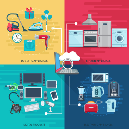 Illustration pour Household icons concept set of domestic appliances kitchen equipment and digital products square composition flat vector illustration - image libre de droit
