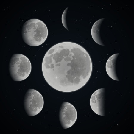 Illustration for Moon phases set on dark space background with stars realistic vector illustration - Royalty Free Image