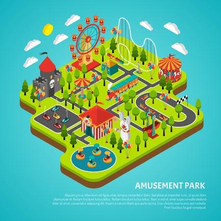 Illustration pour Amusement park fairground with big ferris observation wheel and bumper cars attractions isometric colorful banner vector illustration - image libre de droit
