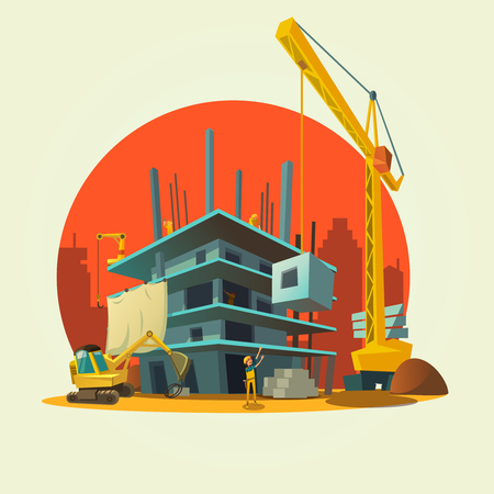 Illustration pour Construction concept with retro style concept workers and machines building house cartoon vector illustration - image libre de droit