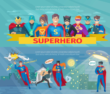 Illustration pour Superhero team horizontal banners set with saving the world symbols flat isolated vector illustration - image libre de droit