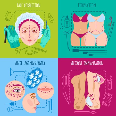 Illustration pour Plastic surgery design concept set with face and body correction icons isolated vector illustration - image libre de droit