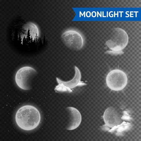 Illustration pour Moonlight set with moon phases with clouds on transparent background vector illustration - image libre de droit