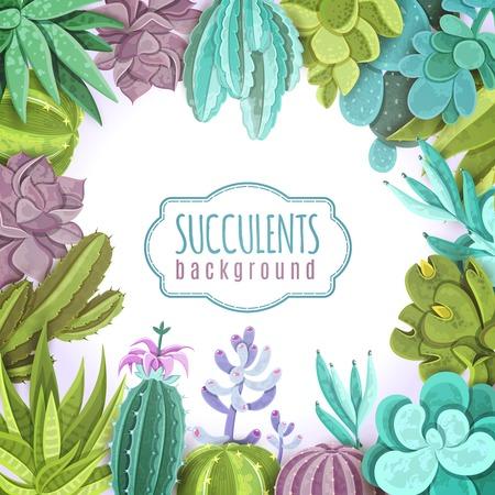 Ilustración de Succulents decorative background with different types of cactuses flat vector illustration - Imagen libre de derechos