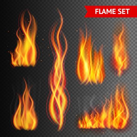 Illustration pour Fire flame strokes realistic isolated on transparent background vector illustration - image libre de droit