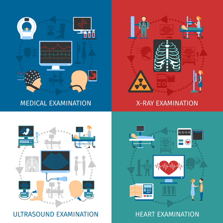 Illustration pour Medical ultrasound and x-ray heart examination 4 flat icons square composition banner abstract isolated vector illustration - image libre de droit