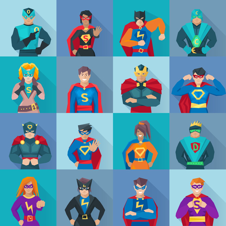 Illustration pour Superhero square shadow icons set with power symbols flat isolated vector illustration - image libre de droit