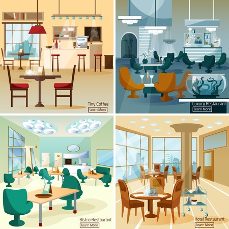 Illustration pour Luxury hotel coffee bar interior 4 flat interactive icons composition for internet page  abstract isolated vector illustration - image libre de droit