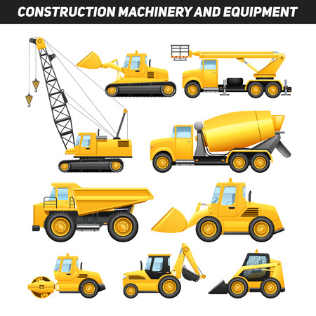 Illustration pour Construction equipment and machinery with trucks crane and bulldozer flat icons set bright yellow abstract isolated vector illustration - image libre de droit