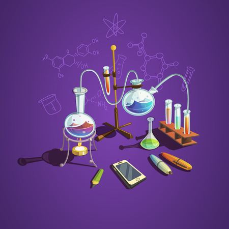 Illustration pour Chemistry science concept with retro cartoon scientific lab items vector illustration - image libre de droit