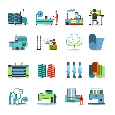 Illustration pour Textile manufacturing process flat icons collection with weaving yarn  machinery equipment and clothes fabrication abstract isolated vector illustration - image libre de droit