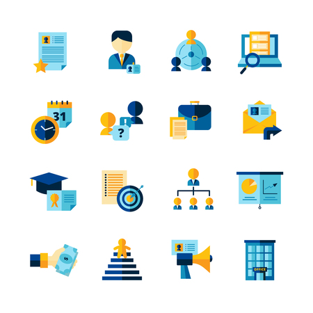 Illustration pour Resume flat color decorative icons set of finding professional staff  interview and career development isolated vector illustration - image libre de droit
