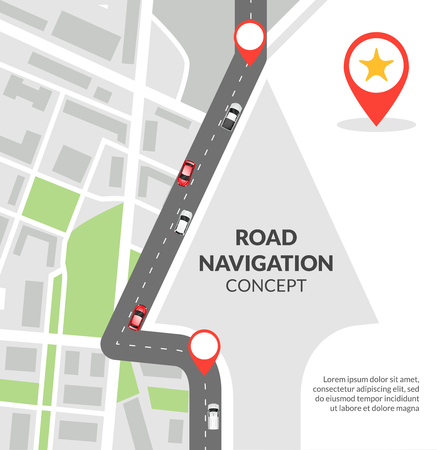 Illustration pour Road navigation concept with city map with pins and road with cars flat vector illustration - image libre de droit