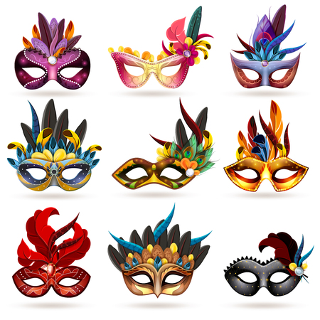 Illustration pour Mask realistic icons set with feathers and jewels isolated vector illustration - image libre de droit