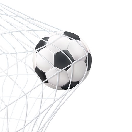 Illustration pour Soccer game match goal moment with ball in the net black white picture vector illustration - image libre de droit
