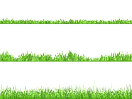 Illustration pour Best looking lawn 3 ideal grass heights for mowing flat horizontal banners set abstract isolated  vector illustration - image libre de droit