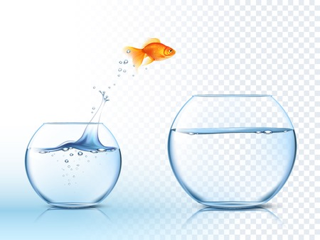 Illustration for Goldfish jumping out one fishbowl to another aquarium with clear water against light checkered background poster vector illustration - Royalty Free Image