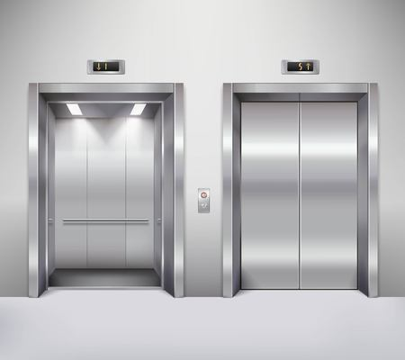 Illustration pour Open and closed chrome metal office building elevator doors realistic vector illustration - image libre de droit