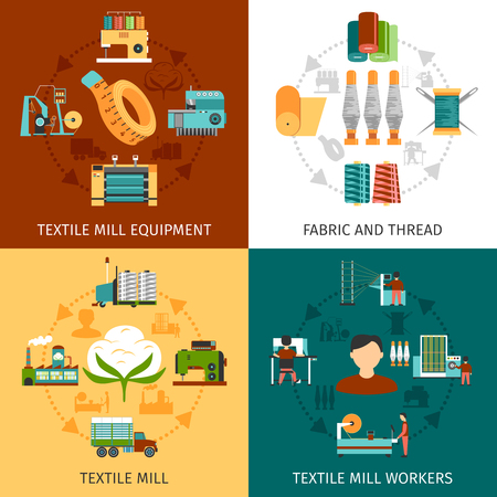 Illustration pour Textile mill production workers and equipment with fabric and threads 4 flat icons square composition abstract vector illustration - image libre de droit