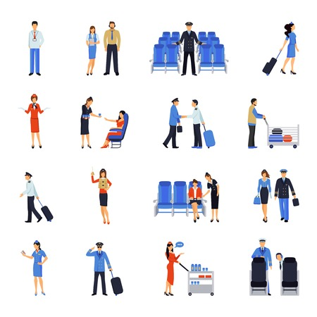 Illustration pour Pilot and stewardess at work during the flight and at the airport flat icons collection abstract vector illustration - image libre de droit