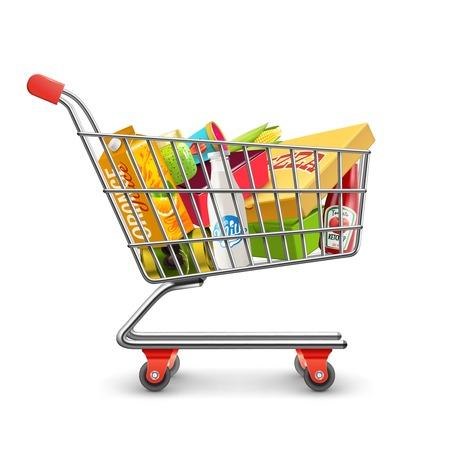 Ilustración de Self-service supermarket full shopping trolley cart with fresh grocery products and red handle realistic vector illustration - Imagen libre de derechos