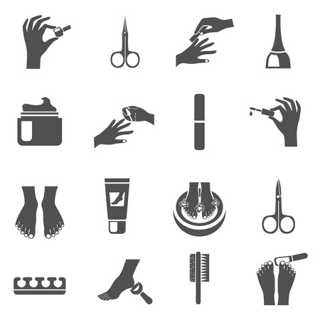 Illustration pour Manicure and pedicure black icons set with water foot massage machine and nail polish abstract isolated vector illustration - image libre de droit