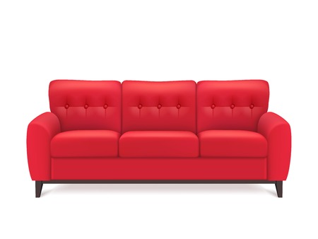 Illustration pour Red leather luxury sofa for modern living room reception or lounge  single object realistic design vector illustration - image libre de droit