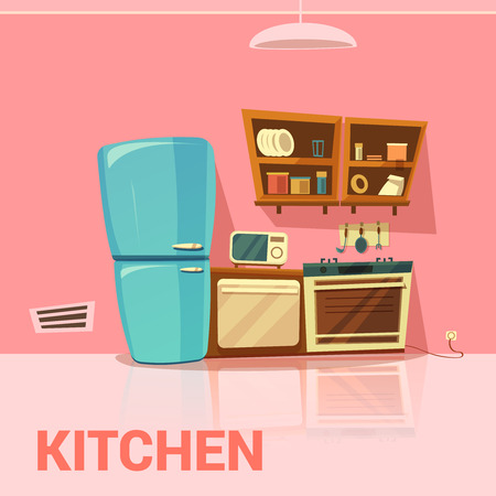 Illustration pour Kitchen retro design with fridge microwave oven and cooker cartoon vector illustration - image libre de droit