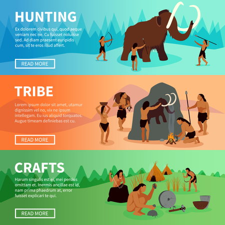 Illustration pour Prehistoric stone age caveman banners with mammoth hunting  life of tribe and primitive crafts flat vector illustration - image libre de droit