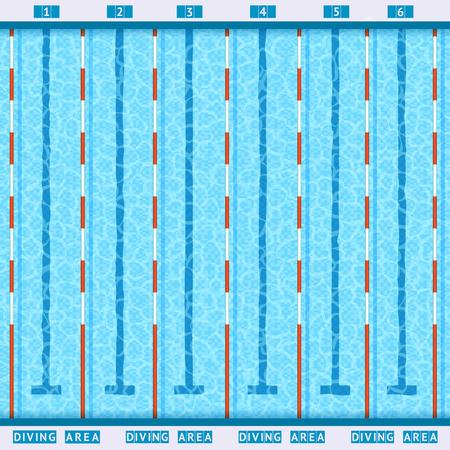 Illustration pour sports competition swimming pool deep bath lanes top view flat pictogram with clean transparent blue water vector illustration - image libre de droit