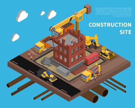 Illustration pour Construction site with building block of flats symbols on blue background isometric vector illustration - image libre de droit