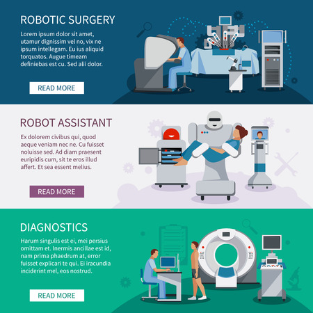 Illustration pour Bionic banners  set of robotic surgery tools and  innovational medical diagnostic equipment flat vector illustration - image libre de droit