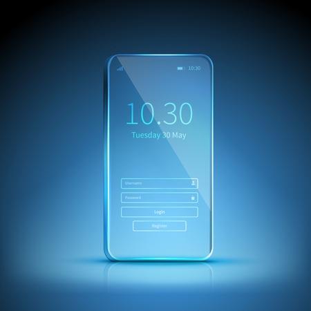 Ilustración de Blue transparent smartphone image swiched on and waiting for registration on blue background vector illustration - Imagen libre de derechos