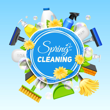 Illustration for Poster with composition of different tools for cleaning service colored on blue background vector illustration - Royalty Free Image