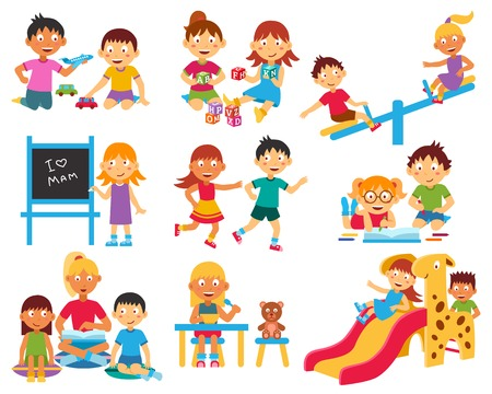 Illustration for Kindergarten flat icons set with children playing with toys and each other isolated vector illustration - Royalty Free Image