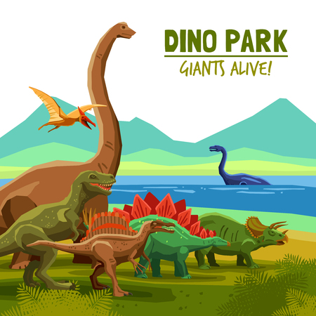 Illustration pour Different flying swimming and land dinosaurs with lake and mountains on background dino park cartoon poster vector illustration - image libre de droit