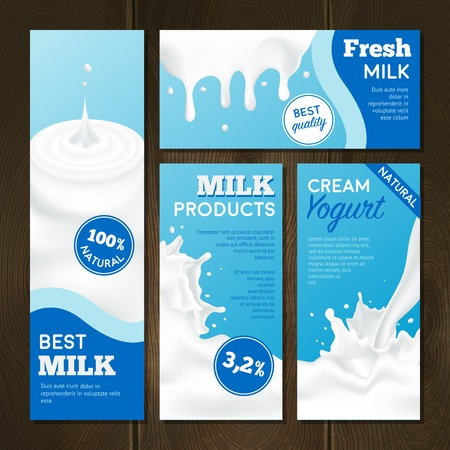 Illustration pour Milk products realistic banners set with splashes on wooden background isolated vector illustration - image libre de droit