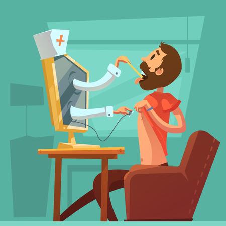 Ilustración de Computer doctor concsultation background with throat examination symbols cartoon vector illustration - Imagen libre de derechos