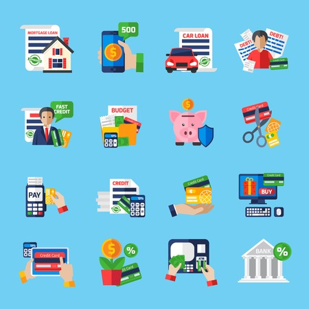 Ilustración de Loan debt flat color icons set of fast credit proposal budget scheduling mortgage loan  payment terminal and scissors cutting credit card isolated vector illustration - Imagen libre de derechos