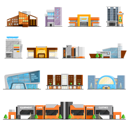 Illustration pour Shopping mall building orthogonal icons set with cafe and clothes symbols flat isolated vector illustration - image libre de droit