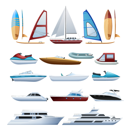 Ilustración de Motor boats catamaran windsurfer and sailboat various types of water transport flat icons set abstract isolated vector illustration - Imagen libre de derechos