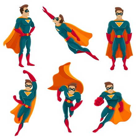 Illustration pour Superhero actions icon set in cartoon colored style different poses vector illustration - image libre de droit
