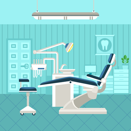Illustration pour Flat poster of dental room interior with dentist chair lamp and drilling machine vector illustration - image libre de droit