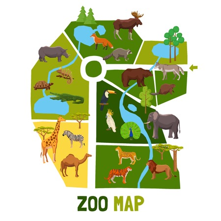 Illustration pour Cartoon zoo map with african animals tropical birds and inhabitants of taiga flat vector illustration - image libre de droit